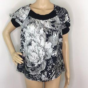 Theory Black & White Short Sleeve Blouse